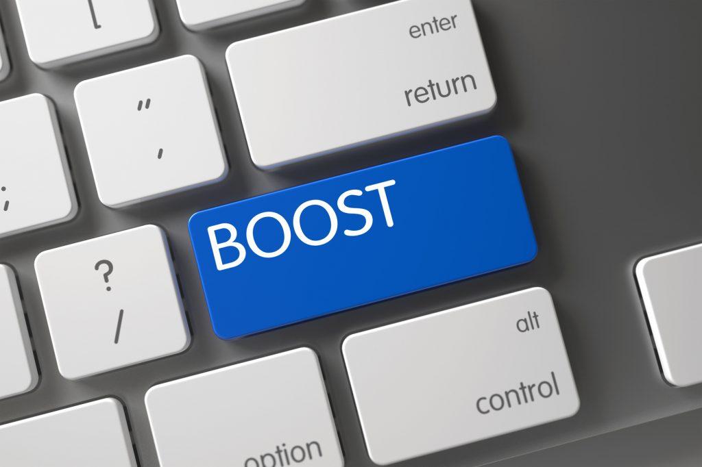 Boost button on a macbook pro laptop keyboard